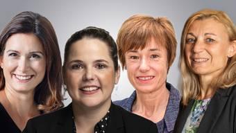 Vier Aargauer Nationalrätinnen äussern sich zur Sommersession: Maja Riniker, Martina Bircher, Ruth Humbel und Yvonne Feri (v.l.).