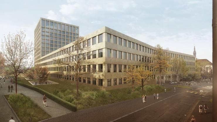 So wird das neue Klinikum 2 des Basler Uni-Spitals aussehen. (Visualisierung)