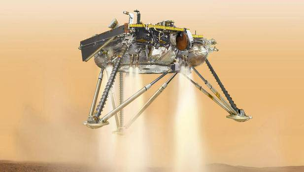 Kurz vor der Landung auf der Mars-Ebene «Elysium Planitia» wird die Raumsonde Bremsraketen zünden.
