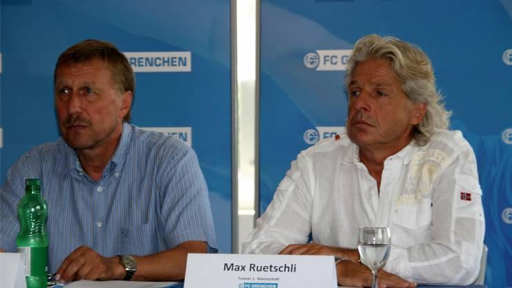 Nach dem grossen «Umbau» hoffen Coach Max Ruetschli (rechts) und der Sportliche Leiter Peter Baumann künftig auf Kontinuität beim FC Grenchen.
