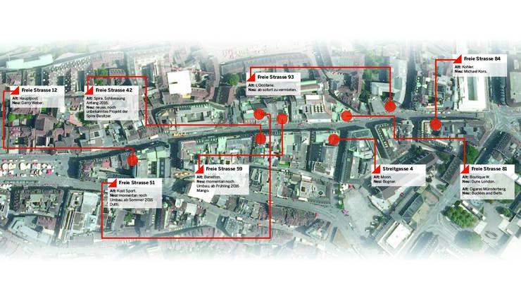 Diese Standorte an der Freien Strasse wurden bereits oder werden noch durch neue Geschäfte besetzt.