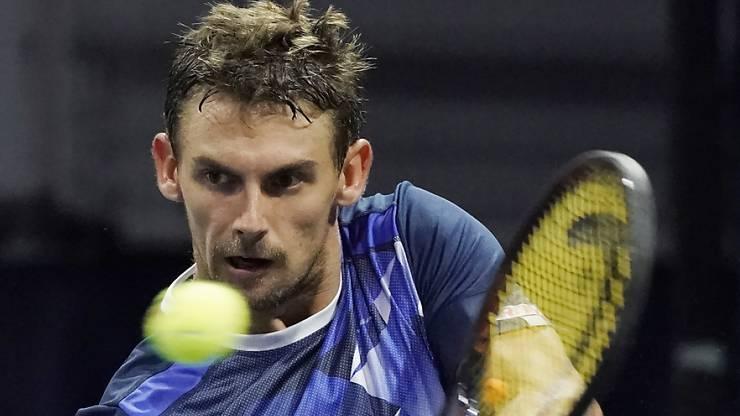 Henri Laaksonen spielt in Runde 1 gegen Benoit Paire.