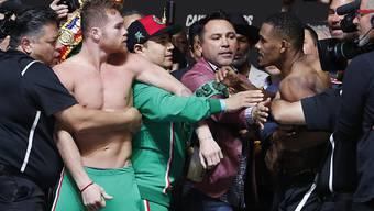 Saul Canelo Alvarez (links) fehlt nur noch der WBO-WM-Titel, um der uneingeschränkte König der Profiboxer im Mittelgewicht zu sein