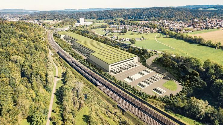 So soll das Verteilzentrum aussehen, das Lidl in Roggwil plant – die Bahnlinie verläuft zwar direkt neben dem Areal, geplant sind aber nur Transporte mit Lastwagen, von denen rund 50 Prozent durch Aargauer Dörfer bis zum Autobahnanschluss Rothrist fahren sollen.