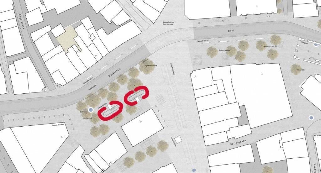 Im Entwurf des neuen Marktplatzes fehlt die Rondelle. Dafür sollen zwei neue Pavillons gebaut werden. (© PD)