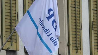 Fahne der FDP an der Laurenzenvorstadt in Aarau