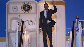 US-Präsident Barack Obama nach der Landung seiner Air Force One auf dem Flughafen London Stansted.