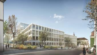 Sorgt weiterhin für Diskussionsstoff: Die Gesamterneuerung des Klinikum 2. Die Visualisierung zeigt den geplanten Neubau am Petersgraben, im Hintergrund die Predigerkirche.