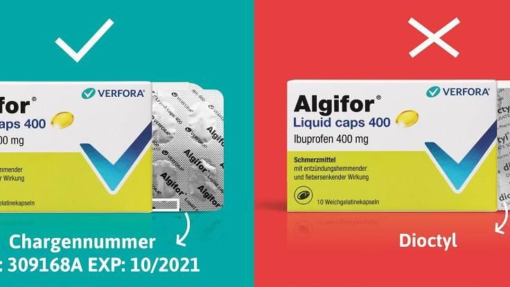 In einzelnen Packungen von Algifor befindet sich ein anderes Medikament.