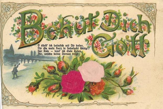 1917 schrieb Matthias seiner Liebe Paulina diese Karte «O dürft ich heimlich mit Dir kosen...». Der Arme schrieb, dass er einen Arbeitsunfall hatte.