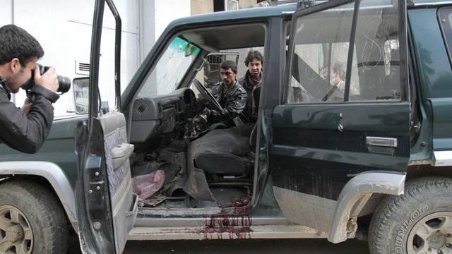 Blutlache in einem Jeep nach einer Attacke in Kabul