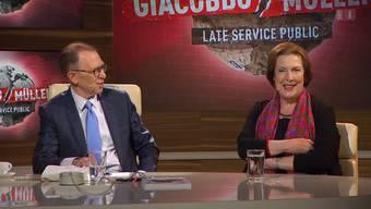 Eine alt Parlamentarierin beweist Humor: Best-of Christine Egerszegi bei Giacobbo/Müller.