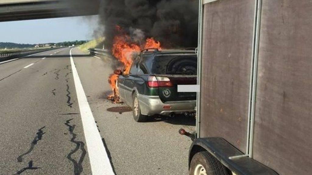 Die Autoinsassen und der im Anhänger mitgeführte Stier sind mit einem Schrecken davon gekommen. Der Fahrzeugbrand war gemäss Polizei auf ein technisches Problem zurückzuführen.