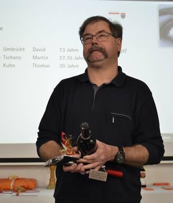 Thomas Kuhn war Vorgägner von David Bürge als Kommandant. Nach 30 Jahren Feuerwehr-Dienst wurde er nun verabschiedet.