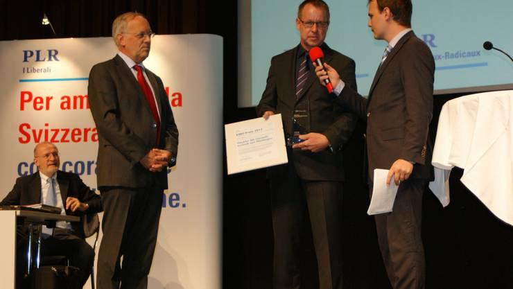 Pelli, Schneider-Ammann und Lorch (v. l.) beim Interview. zvg