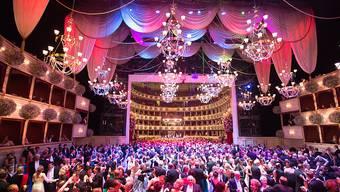 Während sich die Gäste des Wiener Opernballs im Prunk suhlen, empören sich draussen Demonstranten.