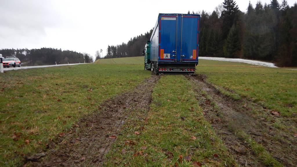 Der Lastwagen kam im Wiesland zum Stillstand
