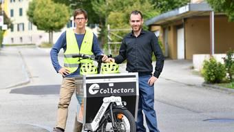 Die beiden Geschäftsführer Tobias Vega und Matthias Tschopp vom Velohauslieferdienst Collectors Olten.
