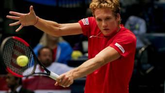 Antoine Bellier gelang im abschliessenden Davis-Cup-Einzel zwischen der USA der Schweiz gegen Steve Johnson kein Satzgewinn