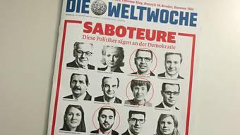 Die Front der aktuellen Ausgabe der «Weltwoche»: Gleich drei Aargauer Politiker werden darauf als «Saboteure der Demokratie» angeprangert.