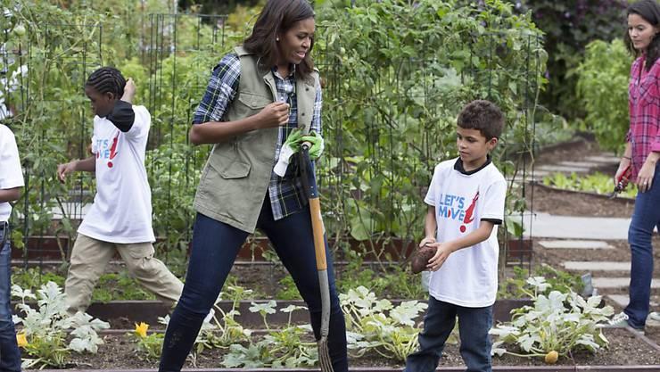 US-First-Lady Michelle Obama bei der letzten Ernte im Garten des Weissen Haus: Der Garten ist Teil ihrer Initiative für eine gesunde Ernährung.