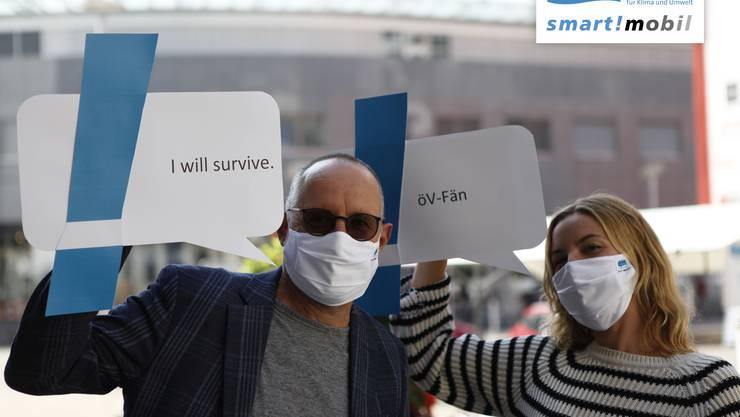 smart mobil mit den Stoffmasken der Energiestadt Grenchen