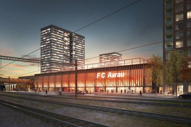 Stadion Aarau und Hochhäuser