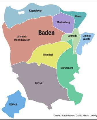 Die Stadt Baden besteht aus zehn Quartieren.