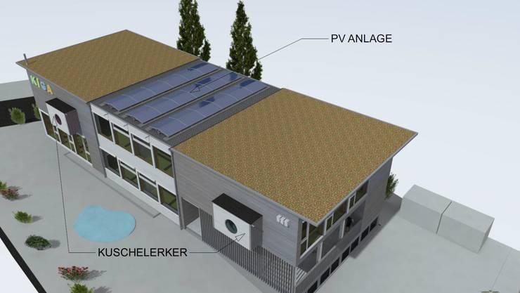 Eine weitere Visualisierung: Auf dem Dach ist eine Photovoltaikanlage geplant.