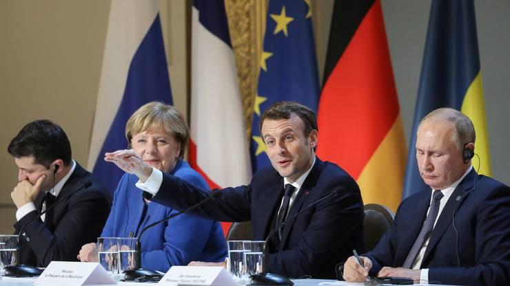 Guter Laune am Vierer-Treffen zwischen der Ukraine, Russland, Deutschland un Frankreich: Der französische Präsident Macron.