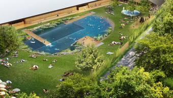 Die Visualisierung des geplanten Naturbads in Riehen