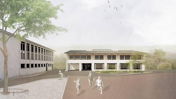 Die Ostansicht des neuen Schulhauses: Ein grosser Pausenplatz gibt den Kindern eine Spielmöglichkeit