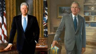 Bill Clinton, gemalt von Simmie Knox 2002 und George W. Bush von John Howard Sanden 2011.