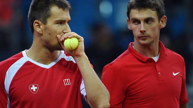 Henri Laaksonen (rechts) und Marco Chiudinelli sollen der Schweiz den Platz in der Weltgruppe sichern
