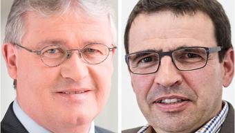 CVP-Aargau-Präsident Markus Zemp und Matthias Jauslin, Präsident der FDP Aargau, sprechen sich gegen die Transparenzinitiative aus.