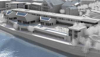 So werden sich das Thermalbad (vorne) und das Wohn-/Ärztehaus (links) aus Ennetbadener Perspektive präsentieren.