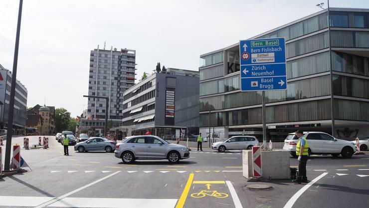 Wieder offen: Die Spur von Wettingen Richtung Autobahnanschluss Baden West.