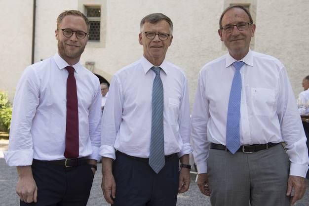 AZ-Verwaltungsrat Michael Wanner, Verwaltungsratspräsident Peter Wanner und der frühere Verwaltungsratspräsident Jürg Schärrer (von links).