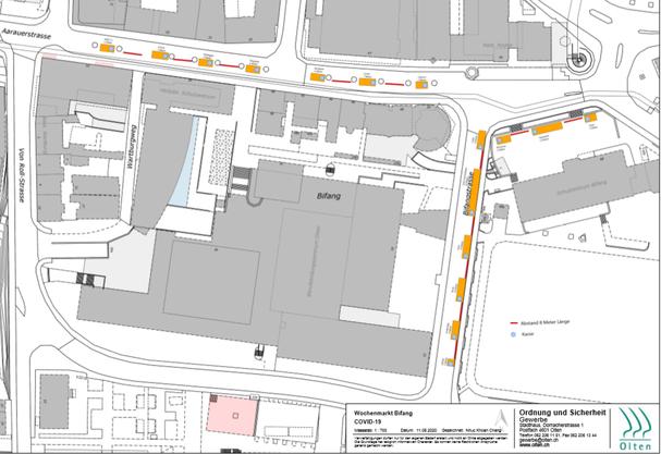 Der Plan für den Wochenmarkt an der Bifangstrasse
