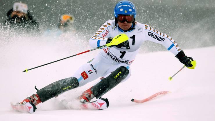 Mattias Hargin auf dem Weg zum Sieg in Kitzbühel.