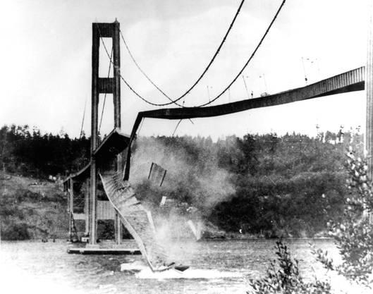 Jede Brücke hat eine bestimmte Frequenz, in der sie bevorzugt schwingt. Wenn sie in dieser Resonanzfrequenz angeregt wird – etwa durch Böen –, kann sich die Schwingung verstärken, bis das Bauwerk einstürzt. Das letzte grössere Unglück dieser Art ereignete sich 1940 im US-Bundesstaat Washington. Die Fahrbahn der Tacoma Bridge hatte sich allerdings schon während rund einer Dreiviertelstunde im Wind kräftig hin- und hergedreht, bevor sie zerriss. Alle Menschen konnten sich in Sicherheit bringen, einziges Todesopfer war ein Hund. Weniger glimpflich geht es aus, wenn die Schwingungen von im Gleichschritt marschierenden Menschen ausgelöst werden. Im Jahr 1850 waren im französischen Angers 226 Soldaten mit einer Hängebrücke in den Tod gestürzt.