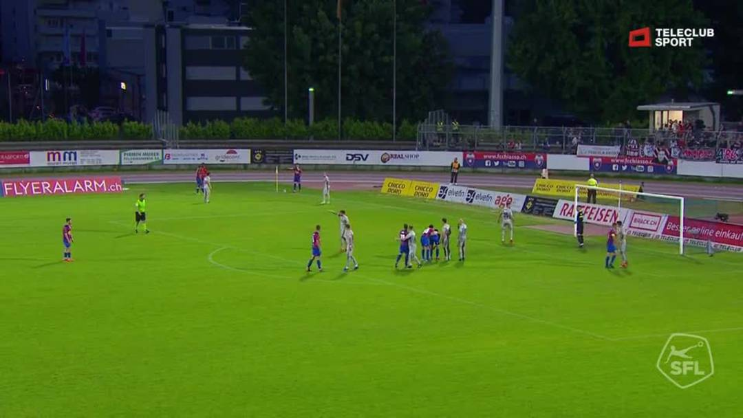 Challenge League 18/19 Runde 35: Chiasso - FC Aarau 24.2.19 - Schuss von Ivan Lurati (FC Chiasso)