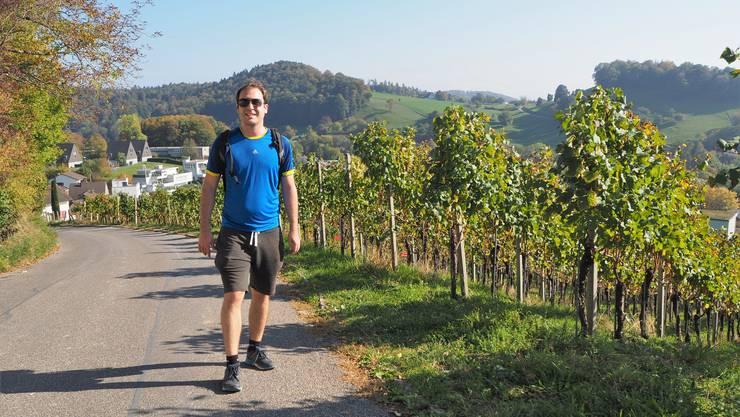 Marc Widmer aus Baden nutzt das schöne Wetter für eine Wanderung auf der Lägern.
