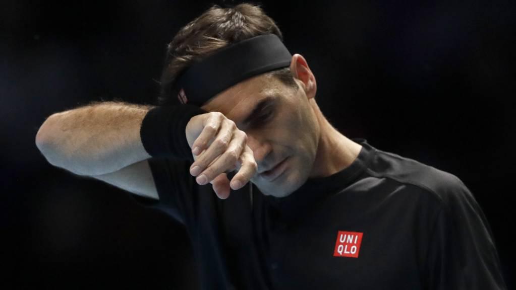 Kam im Halbfinal der ATP Finals im dritten Jahr in Folge nicht wie gewünscht auf Touren: Roger Federer verlor in der Londoner O2 Arena gegen Stefanos Tsitsipas
