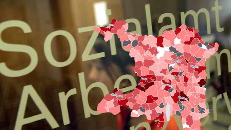 Die Sozialhilfequoten liegen zwischen 1,3 Prozent im Bezirk Muri und 3,0 Prozent im Bezirk Aarau.