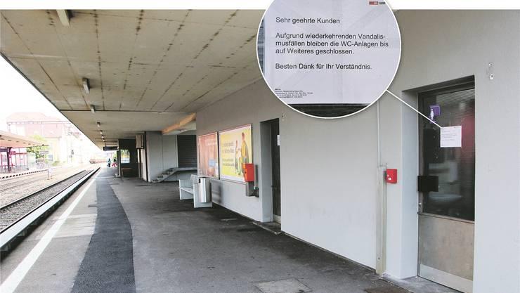 WC-Anlagen (Bild) und Wartsaal sollten wieder benützbar sein, findet der Gemeinderat.