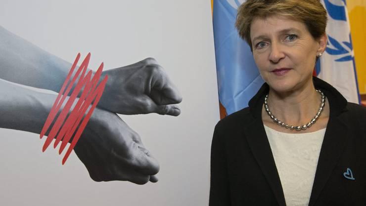 Justizministerin Simonetta Sommaruga (SP) an einer Konferenz gegen Menschenhandel.