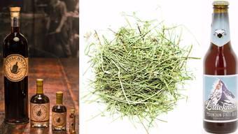 Links: Hochprozentiger Aromageber: Original Heuschnaps aus dem Berner Oberland.  Rechts: Blacknose: Heubier aus den Walliser Bergen.