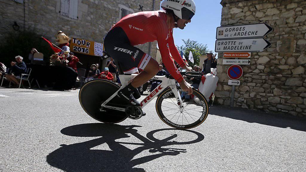 Fabian Cancellara während des Zeitfahrens am Freitag an der Tour de France. Am Montag fährt er im Rahmen der 16. Etappe nach Bern zum letzten Mal vor seinem Rücktritt vor heimischem Publikum