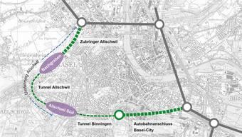 Die Baselbieter Regierung hält an der Elba-Variante «Ausbau» samt neuer Strasse Allschwil–Binningen fest – stadtnahe Gemeinden würden stark wachsen. (Archiv)